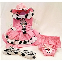 Pink and Cow Print Small Dog Harness Dress c4e47f9fc