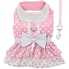 Pink Polka Dot and Lace Small Dog Harness Dress