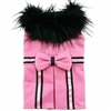 Pink Wool Small Dog Coat with Faux Fur Collar