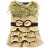 Camel Wool Dog Coat with Faux Fur Collar