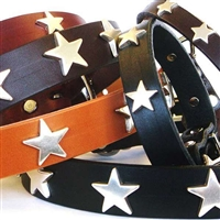 Stars Leather Dog Collar