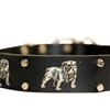 Bulldogs Day Designer Leather Dog Collar