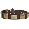 Brass Plates Leather Large Dog Collar