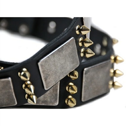 Devilish Della Spiked Leather Large Dog Collar