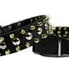 Golden Spike and Studs Leather Large Dog Collar