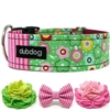 Pink and Green Floral Dog Collar or Martingale