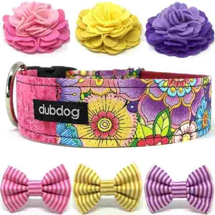 Fun Flowers Dog Collar or Martingale