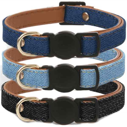 Friendship Denim Cat Collars | Breakaway | Vegan Leather