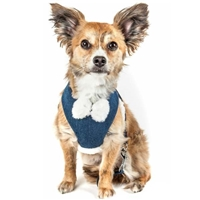 Denim Pom Pom 2-In-1 Dog Harness
