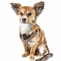 Dapper Houndstooth Designer Dog Harness | 2-In-1