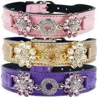 Crystal Daisy Leather Designer Dog Collars