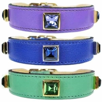 Leather Designer Dog Collars with Princess Cut Crystals