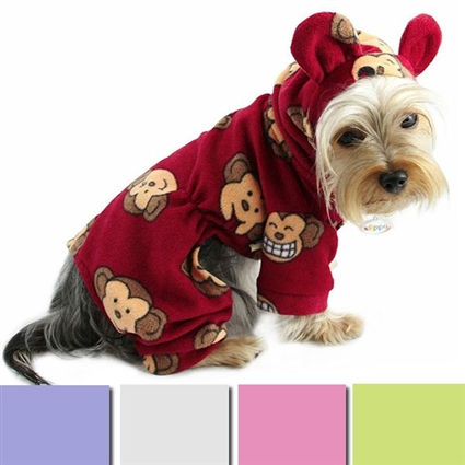 Silly Monkey Hooded Fleece Pet Pajamas
