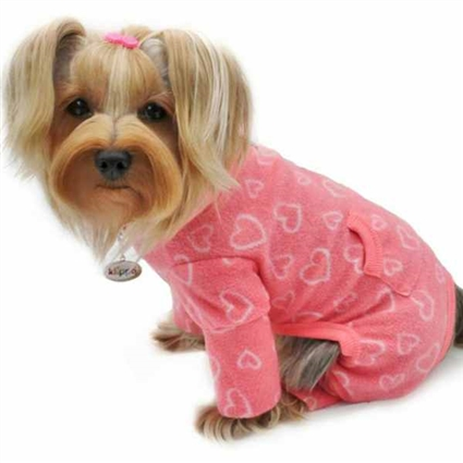 Fleece Dog Pajamas | Blush Pink Love