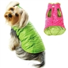 Ruffled Dog Parka Vest | Reversible | Pink | Lime Green