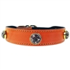 Leather Dog Collars with Jasper Gemstones