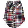 Navy Madras Plaid Dog Shirt