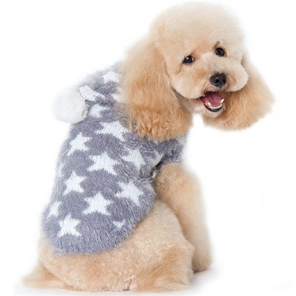 Fuzzy Stars Designer Dog Sweater
