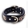 Namid Rhinestone and Studs Leather Dog Collar
