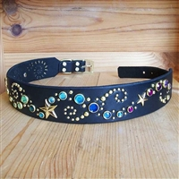 Shining Star Leather Large Dog Collar