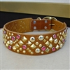 Xdog Studs and Rhinestones Leather Dog Collar