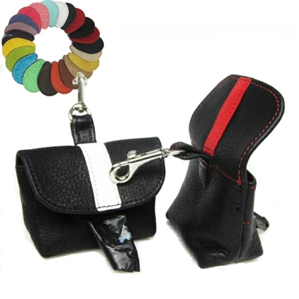 Stripe Custom Leather Dog Poop Bag Holder
