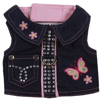 Butterfly Denim Small Dog Harness