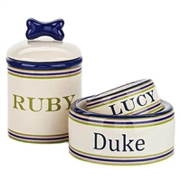 Personalized Preppy Stripe Dog Treat Jar