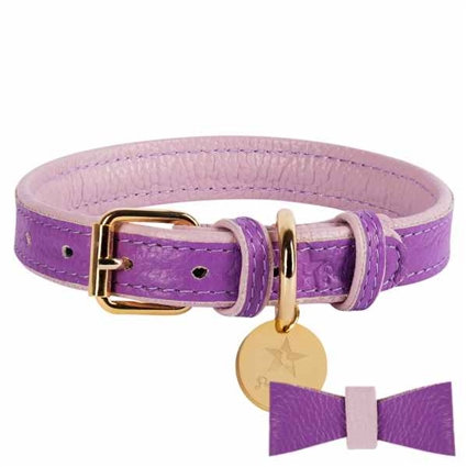 Lavender Leather Dog Collar | Padded Dog Collar