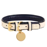 Hot Marine Padded Leather Dog Collar