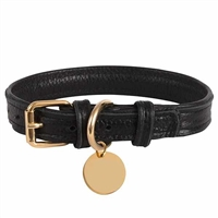 Padded Black Leather Dog Collar | Dark Night