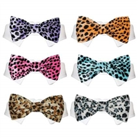 Velvet Leopard Print Pet Bow Ties