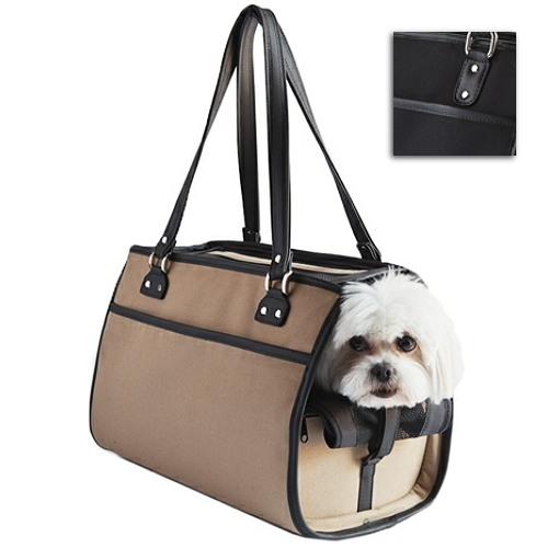 bcbb9bdef2ca A stylish, unisex designer dog carrier available in solid black ballistic  fabric or khaki trimmed in black faux leather. Ventilated on top and sides  with ...