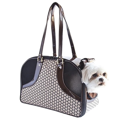 Noir Dots Designer Dog Purse Carrier | Leather