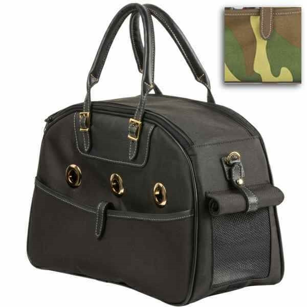 1be753ea99 A chic bowler-style designer pet carrier for dogs and cats made with  grommet ventilation holes, Italian black leather trim, handles and shoulder  strap and ...