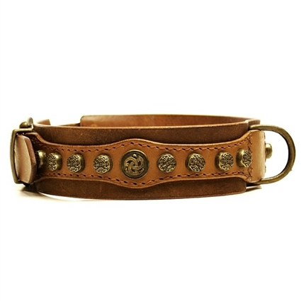 Royal Antique Studded Leather Dog Collar