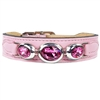 Sweet Pink Leather Designer Dog Collar
