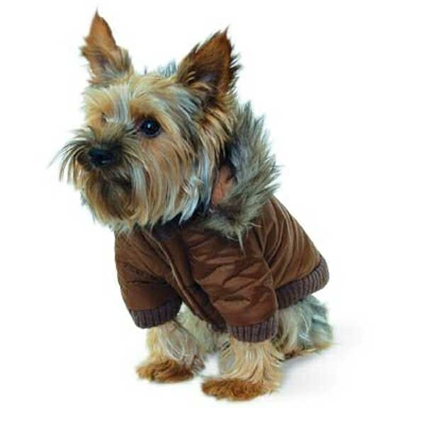 Brown Parka Small Dog Winter Coat