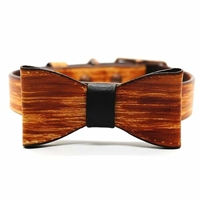 Woodgrain Leather Designer Dog Collar with Bow Tie