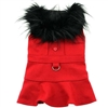 Red Wool Dog Coat with Faux Fur Collar