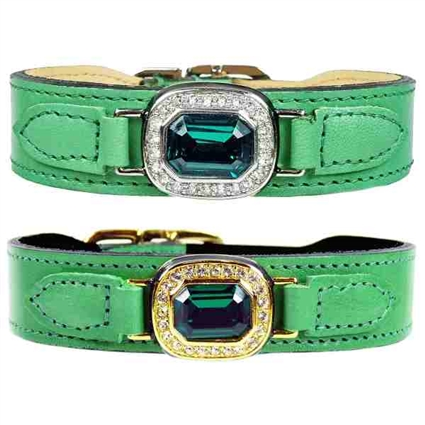 Luxury Leather Dog Collar | Haute Couture | Green | Emerald