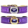 Haute Couture Leather Dog Collar | Tanzanite Swarovski Crystals