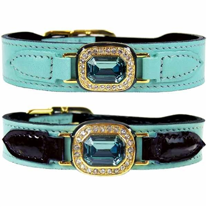 Luxury Leather Dog Collar | Turquoise | Haute Couture