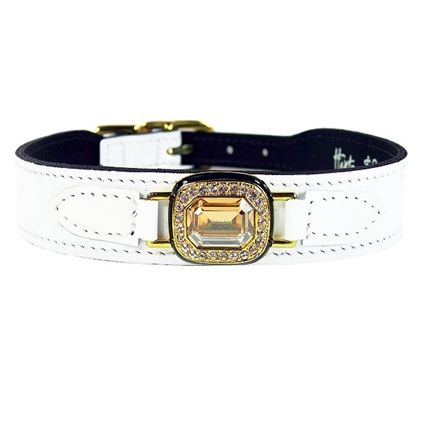 Haute Couture Dog Collar | White Patent Leather
