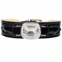 Haute Couture Leather Dog Collar | Clear Swarovski Crystal