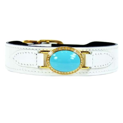 Designer Dog Collar | White Patent Leather