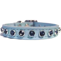 Baby Boy Blue Bling Leather Dog Cat Collars