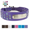 Bling Leather Dog Collar with Nameplate