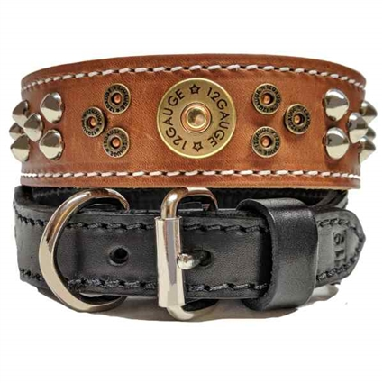 Leather Dog Collar with 12 Gauge Shotgun Shell