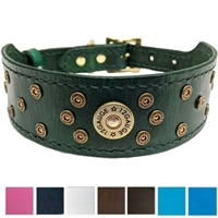 Shotgun Shell Leather Dog Collar